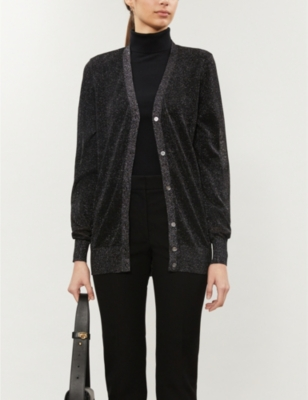 Metallic stretch-knit cardigan