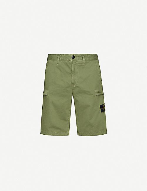 STONE ISLAND Logo-badge stretch-cotton shorts
