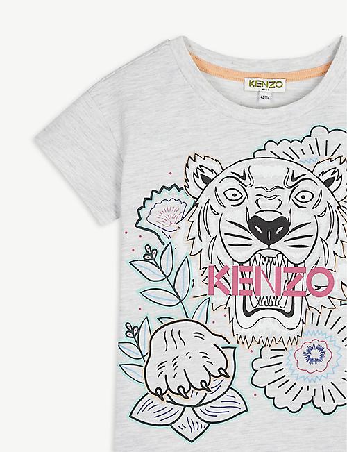 KENZO 老虎图形标志棉混纺T恤连衣裙 4-14 岁