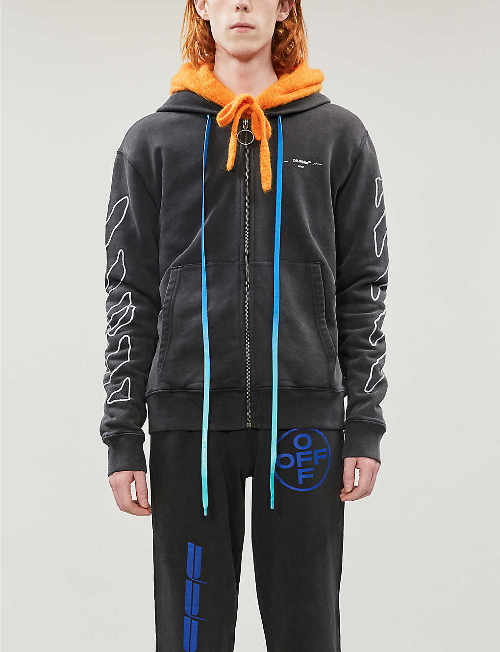 Graphic-print branded cotton-jersey hoody(8503135)