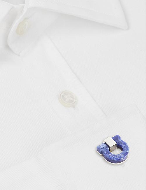 SALVATORE FERRAGAMO 半宝石石头甘奇尼标志袖扣