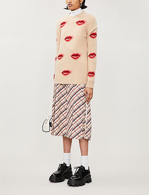 PRADA Graphic-print wool and cashmere-blend jumper