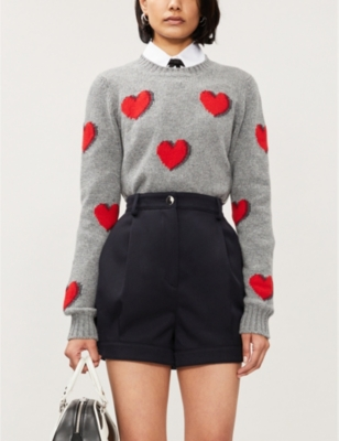 Heart-intarsia wool-and-cashmere blend jumper