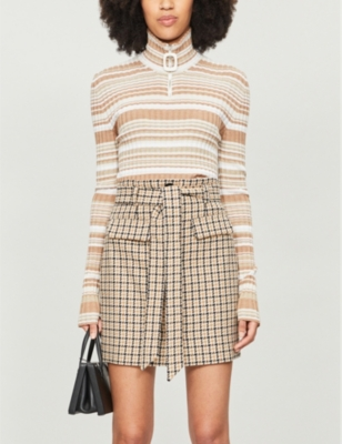 Cotton and wool-blend belted mini skirt