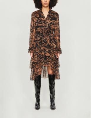 V-neck asymmetric floral-print crepe midi dress