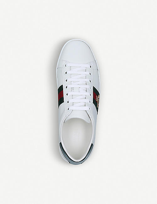 GUCCI New Ace bee-embroidered leather low-top trainers