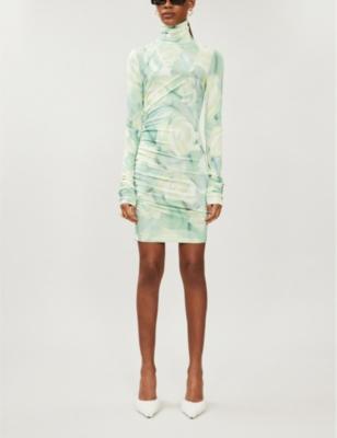 Floral-print turtleneck stretch-jersey mini dress