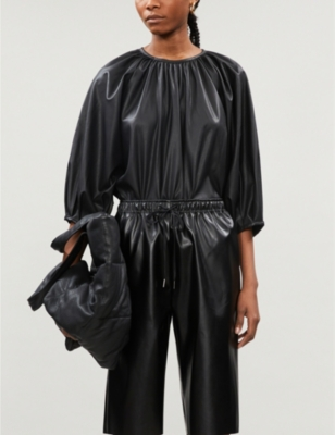 Gathered faux-leather top
