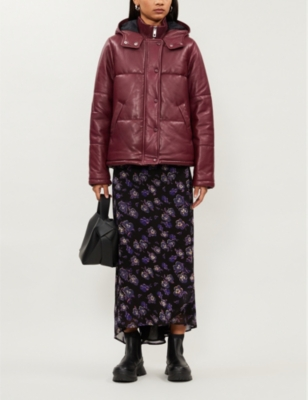 Padded leather puffer jacket
