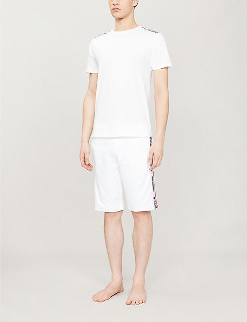 MOSCHINO 徽标磁带平纹针织棉 T 恤