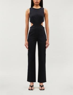 Cutout sleeveless stretch-denim jumpsuit
