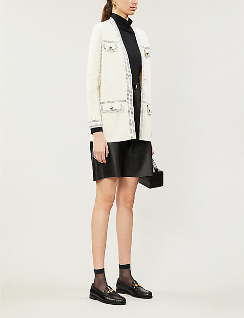 MAJE Contrast-stitching cotton cardigan