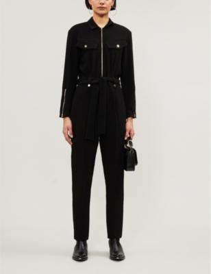 Flap-pocket crepe jumpsuit