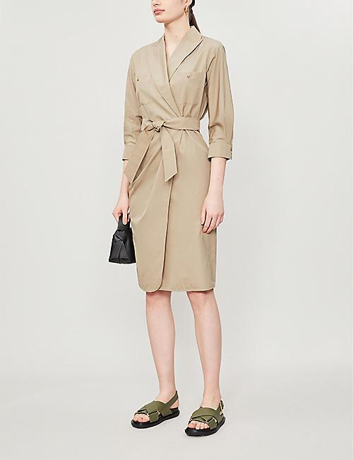 MAX MARA 卡利亚领带腰带棉迷笛裹身裙