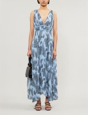 Bandana-print crepe maxi dress