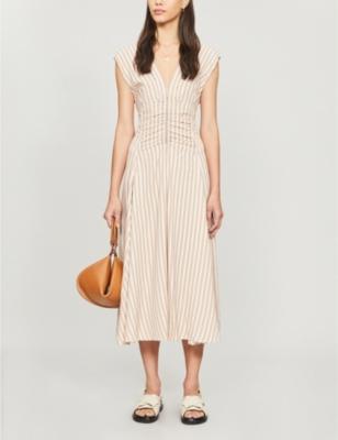 Striped woven midi dress