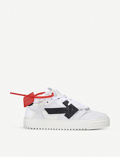OFF-WHITE C/O VIRGIL ABLOH 关闭宫廷鞋箭头贴片绒面革和 帆布低帮运动鞋
