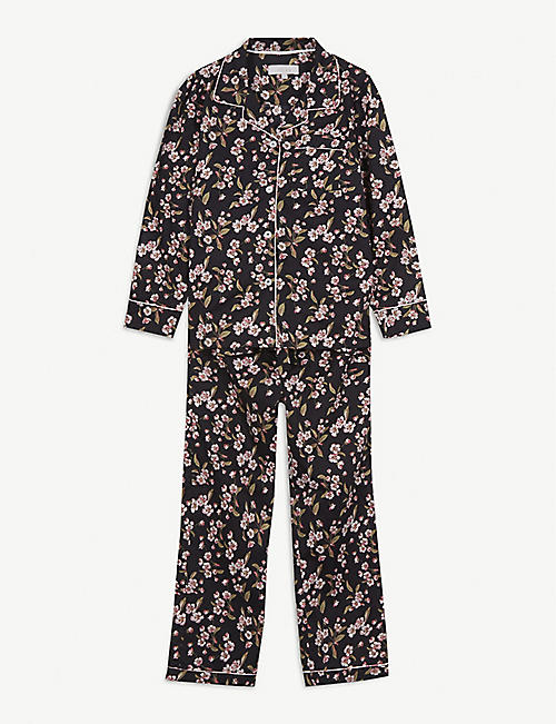 LITTLE YOLKE Rose-print cotton pyjama set 3-12 years