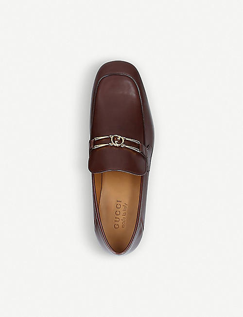 GUCCI Phyllis GG-embellished leather loafers
