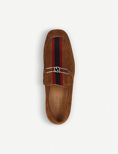GUCCI Phyllis horsebit-embellished suede loafers