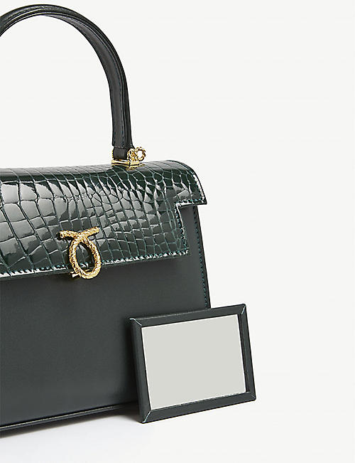 LAUNER Judi croc-embossed leather top handle bag