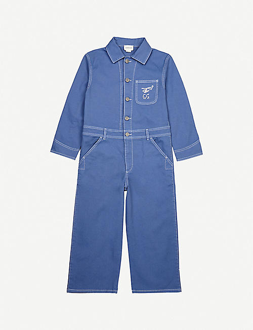GUCCI Areop embroidered cotton-twill jumpsuit 6-10 years