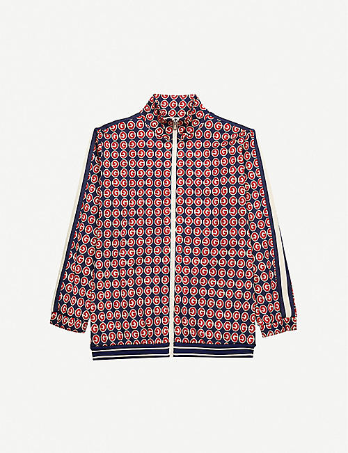 GUCCI Logo-print zip-up cotton jacket 6-12 years