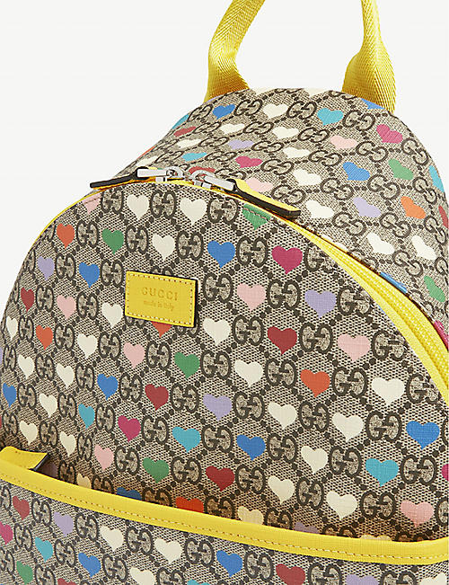 GUCCI Kids hearts logo-print canvas backpack