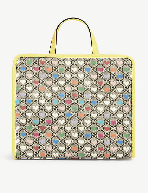 GUCCI Kids heart and logo-print square canvas tote