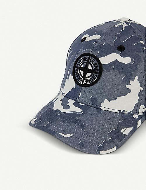 STONE ISLAND Camo-print branded cotton cap 6-10 years