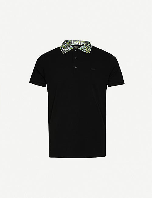 FENDI Branded-collar slim-fit cotton-piqué polo shirt