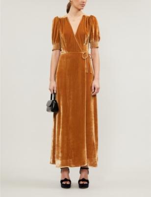 Peonie velvet maxi wrap dress