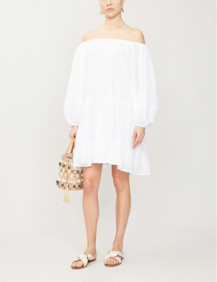 Brielle puffed-sleeve cotton-voile mini dress