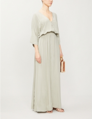 Vero Isla V-neck woven maxi dress