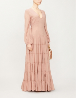 Sabrina Rumba V-neck cotton-voile maxi dress