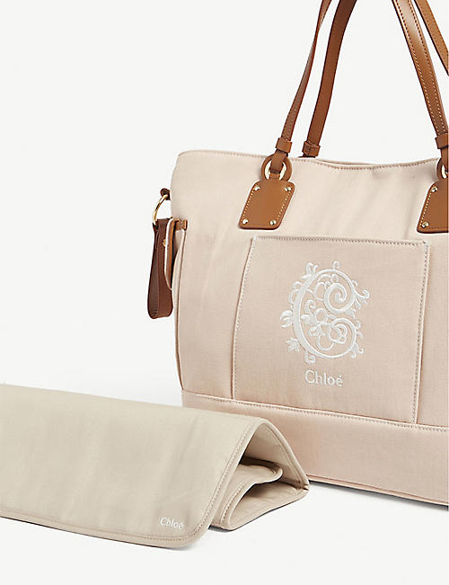CHLOE Logo embroidered cotton changing bag