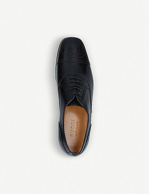 GUCCI Dracma GG-detailed leather Derby shoes