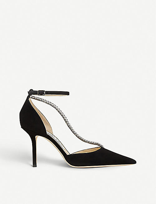 JIMMY CHOO Talika 85 crystal-embellished suede courts