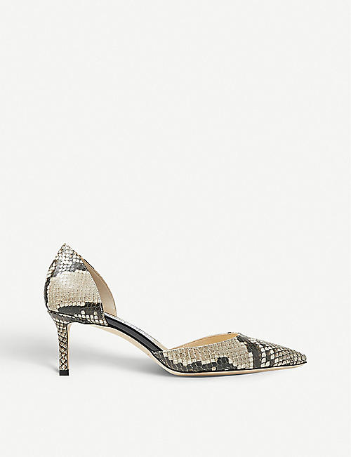 JIMMY CHOO Esther 60 snake-embossed leather courts