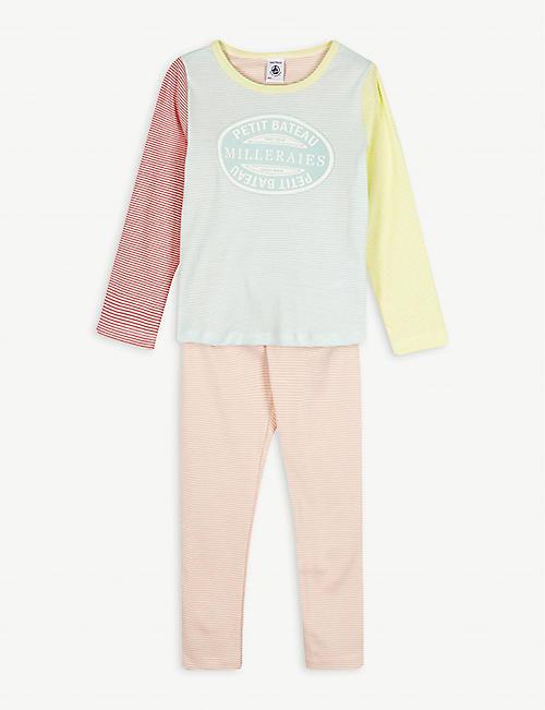 PETIT BATEAU 条纹徽标棉质睡衣套装 2-12 岁