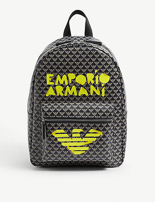 EMPORIO ARMANI Kids graphic-print leather backpack