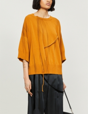 String-detailed oversized cotton-knit jumper