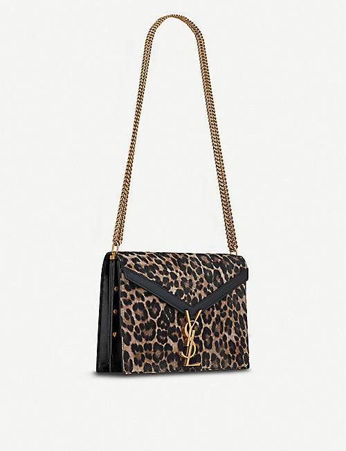 SAINT LAURENT Cassandra medium leopard print monogram leather shoulder bag