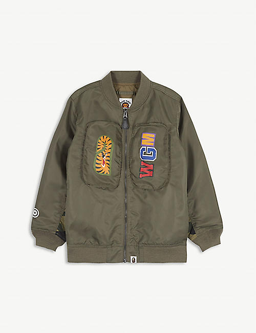 A BATHING APE Logo-print shell bomber jacket 5-8 years