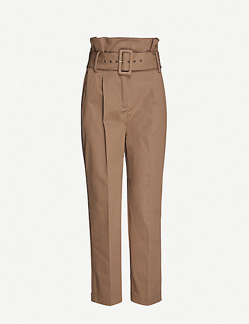 BA&SH Khol belted stretch-cotton trousers