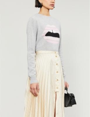 Mia Lara lip-print cashmere jumper