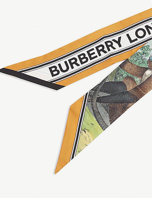 BURBERRY Jungle Sketch silk twill scarf