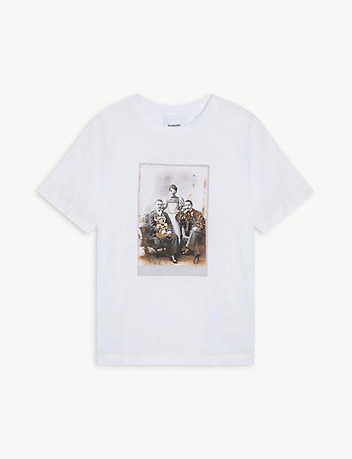 BURBERRY Party portrait graphic print cotton T-shirt 3-14 years