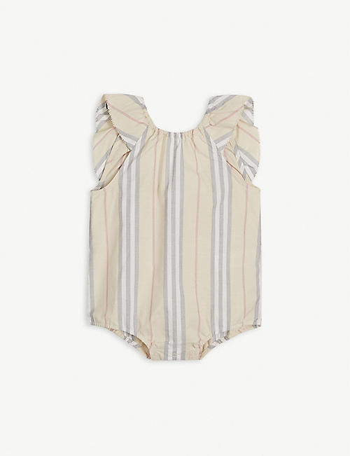 BURBERRY Debbie Icon-stripe bodysuit 1-18 months