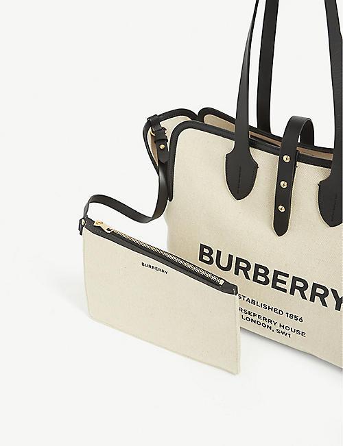 BURBERRY Logo-print cotton-canvas tote bag